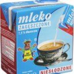 Wartości odżywcze - Mleko zagęszczone niesłodzone